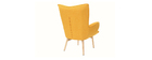 Design-Sessel skandinavisch und Fußablage Gelb und helles Holz BRISTOL
