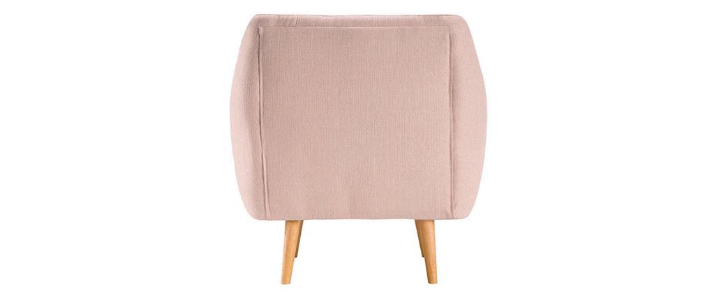 Design-Sessel Stoff Altrosa Füße Holz hell OLAF