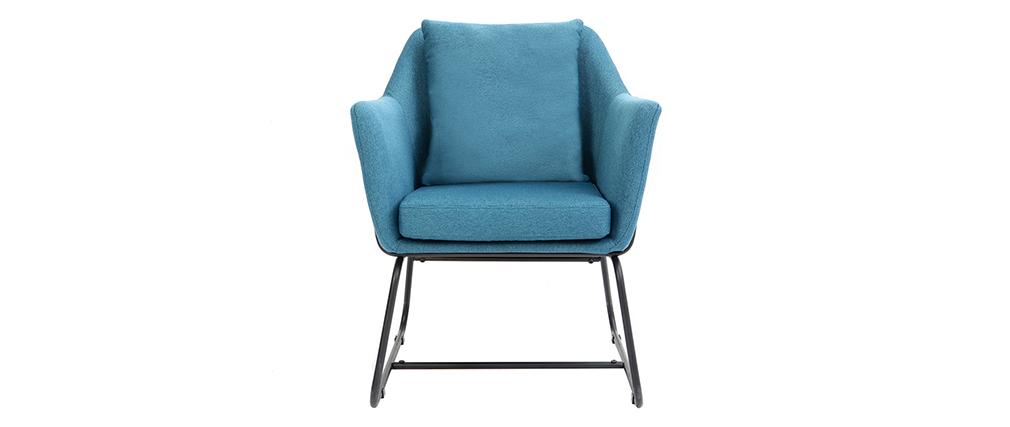 Design-Sessel Stoff Blaugrün und Metallgestell Schwarz MONROE