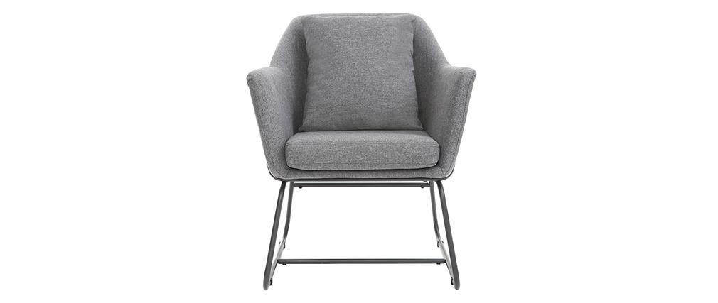 Design-Sessel Stoff Dunkelgrau und Metallgestell Schwarz MONROE