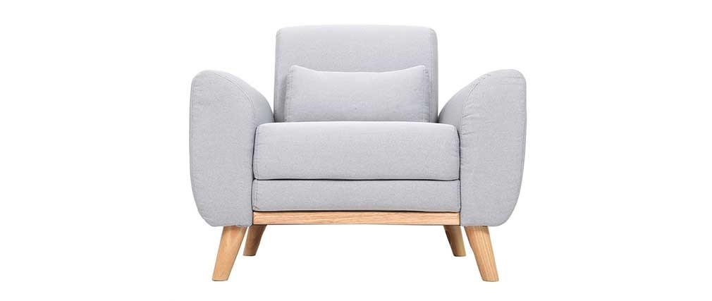 Design-Sessel Stoff Grau Beine Eiche EKTOR