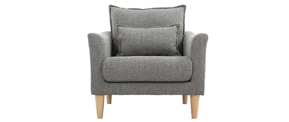 Design-Sessel Stoff Grau und Eiche KATE