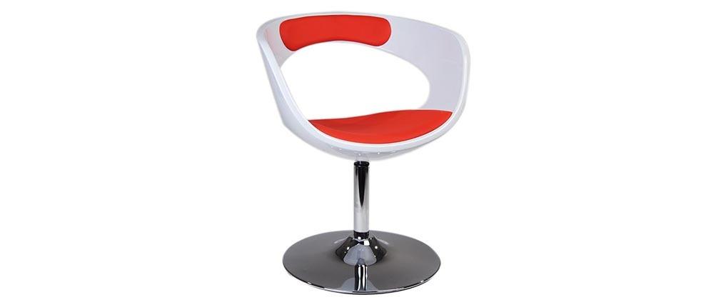 Design-Sessel / Stuhl Retro GROOVY Rot und Weiß