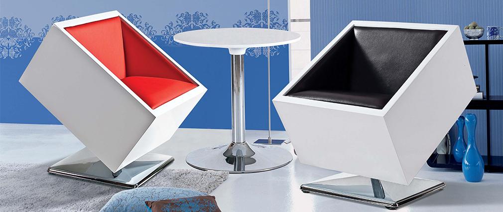 Design-Sessel / Stuhl Schwarz und Weiß SQUARE BOX