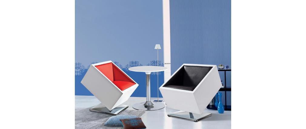 Design sessel stuhl wei und rot square box miliboo for Design stuhl rot