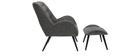 Design-Sessel und Fußstütze aus grauem Stoff ZOE