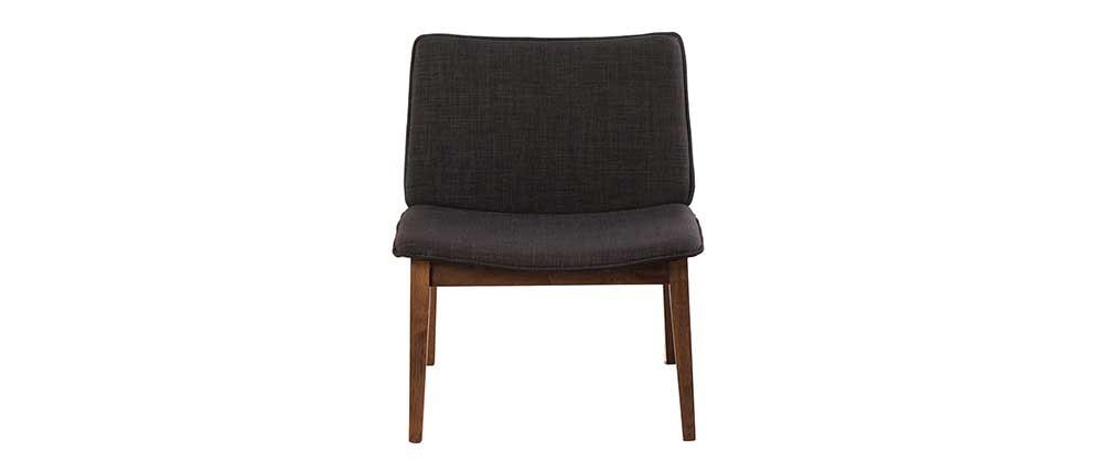 Design-Sessel Vintage Beine Nussbaumholz Stoff Anthrazitgrau JUKE