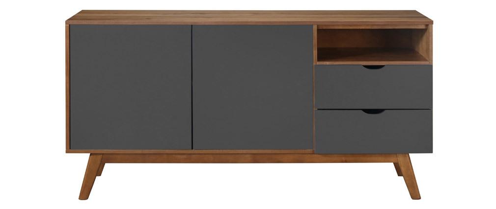 Design-Sideboard Anthrazitgrau und Nussbaum NEELA