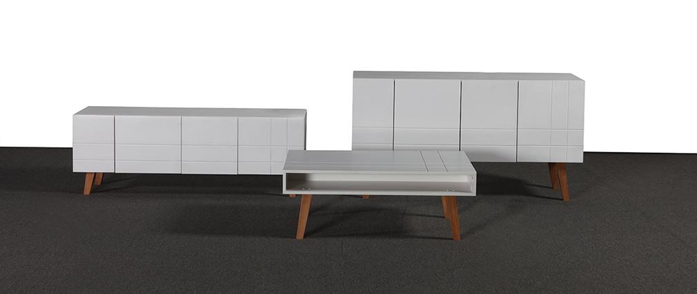 Design-Sideboard lackiert Weiß matt und Holz ADORNA