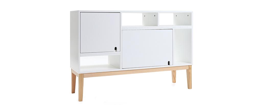 Design-Sideboard lackiert Weiß matt und Holz SKAL