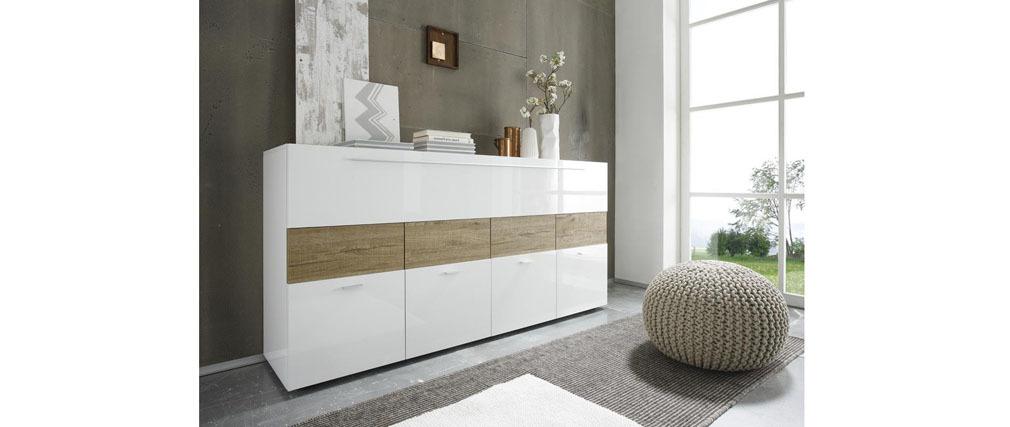 Design-Sideboard lackiert Weiß und Taupe MELINA