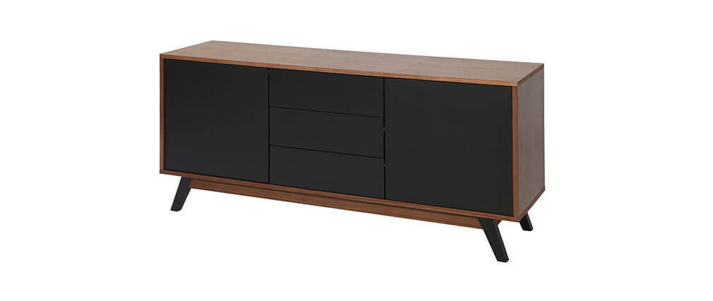 design sideboard nussbaumholz schwarz matt norma miliboo. Black Bedroom Furniture Sets. Home Design Ideas
