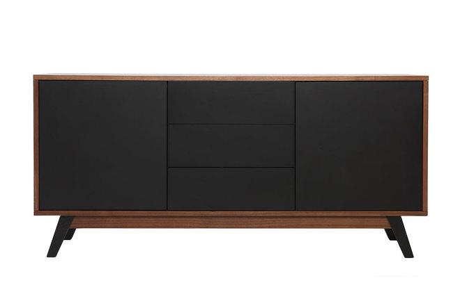 Sideboard schwarz matt  Design-Sideboard Nussbaumholz Schwarz matt NORMA - Miliboo