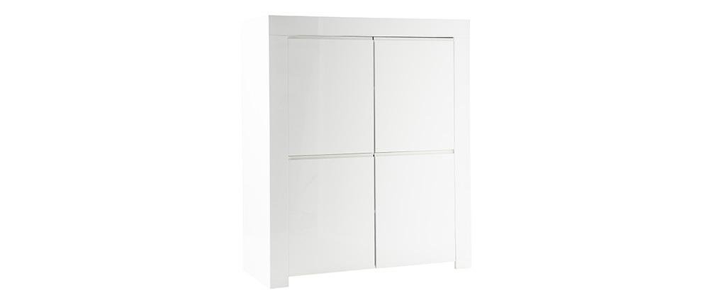 Design-Sideboard quadratisch 4 Türen weiß lackiert ERIA