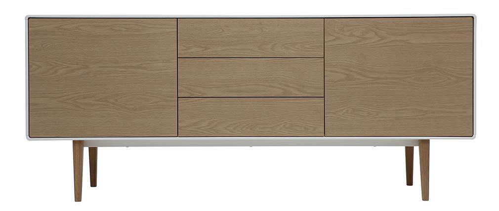 Design-Sideboard zeitgenössisch Weiß und Holz ROMY