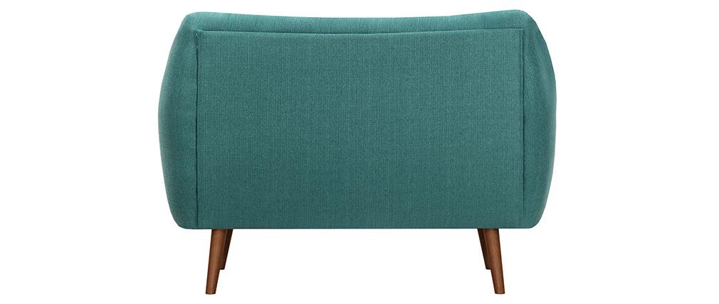 Design-Sofa 2 Plätze Blaugrün Beine Nussbaum OLAF