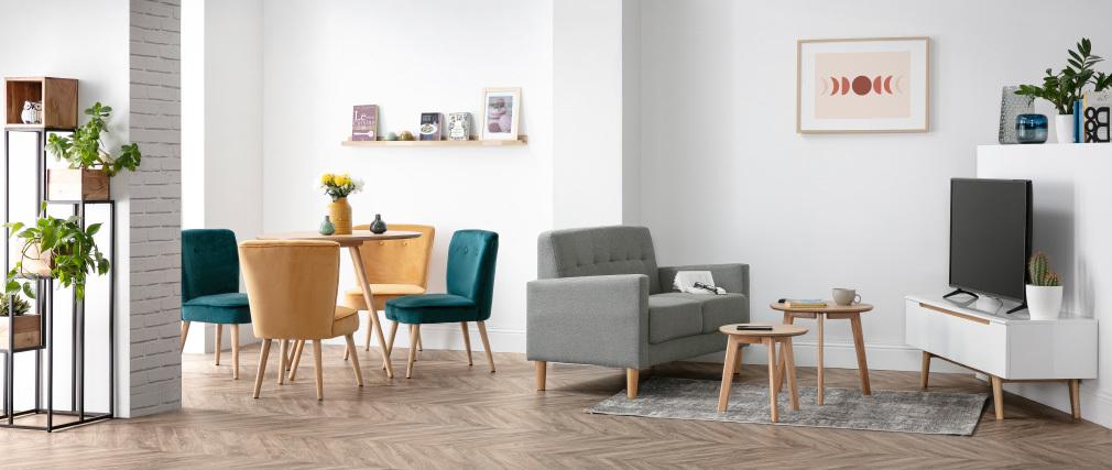 Design-Sofa 2 Plätze Grau MOON