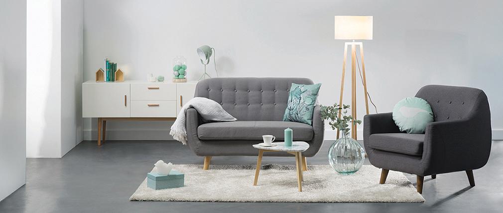 Design-Sofa 2 Plätze Grau YNOK