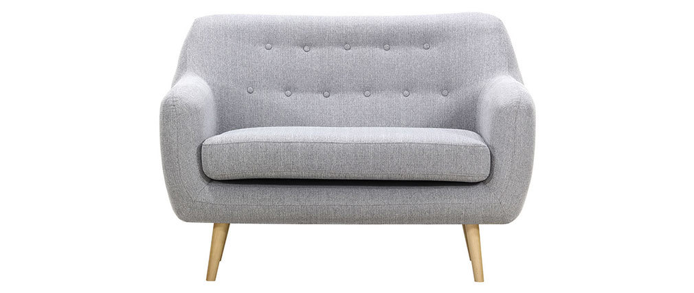 Design-Sofa 2 Plätze Perlgrau Füße helles Holz OLAF