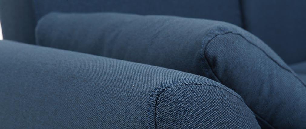 Design-Sofa 2 Plätze Stoff Blau und Füße Nussbaum EKTOR