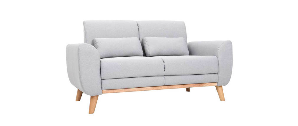Design-Sofa 2 Plätze Stoff Grau Eichenbeine EKTOR