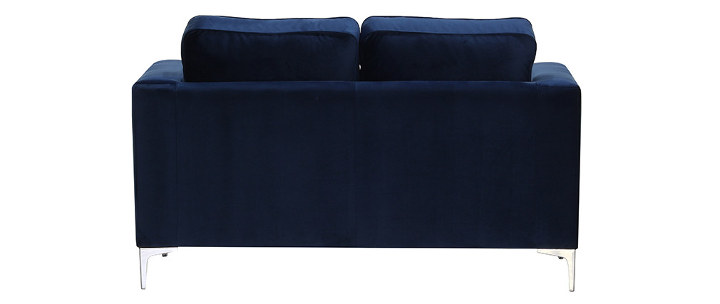 Design Sofa 2 Sitzer Velours Dunkelblau Harry Miliboo