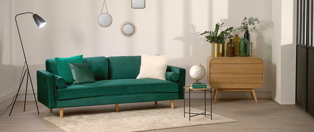 Design-Sofa - 3-4 Plätze - Samt Nachtblau - IMPERIAL