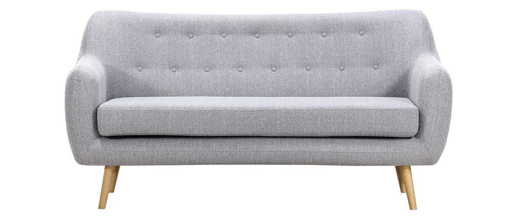 Design-Sofa 3 Plätze Buche und Stoff Perlgrau OLAF