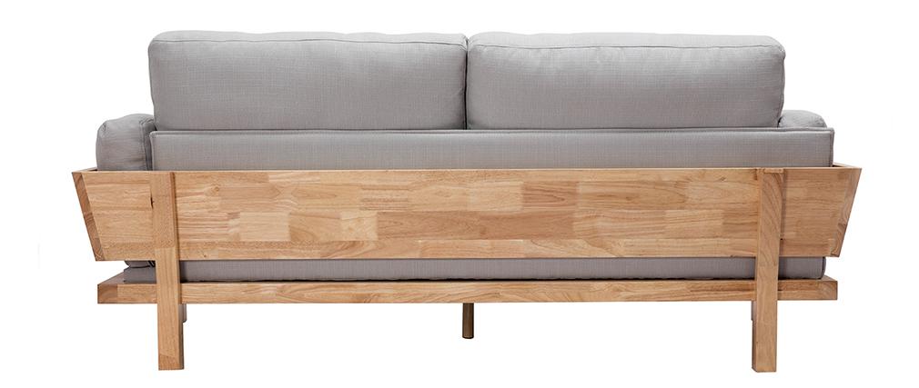 Design-Sofa 3 Plätze Cremeweiß Holzbeine KYO