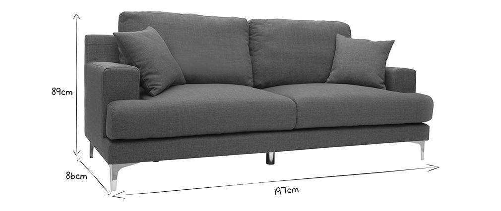 Design-Sofa 3 Plätze dunkelgrauer Stoff BOMEN