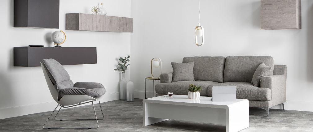 Design-Sofa 3 Plätze hellgrauer Stoff BOMEN