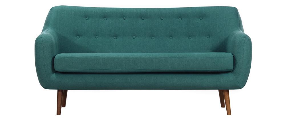 Design-Sofa 3 Plätze Stoff Blaugrün Beine Nussbaum OLAF