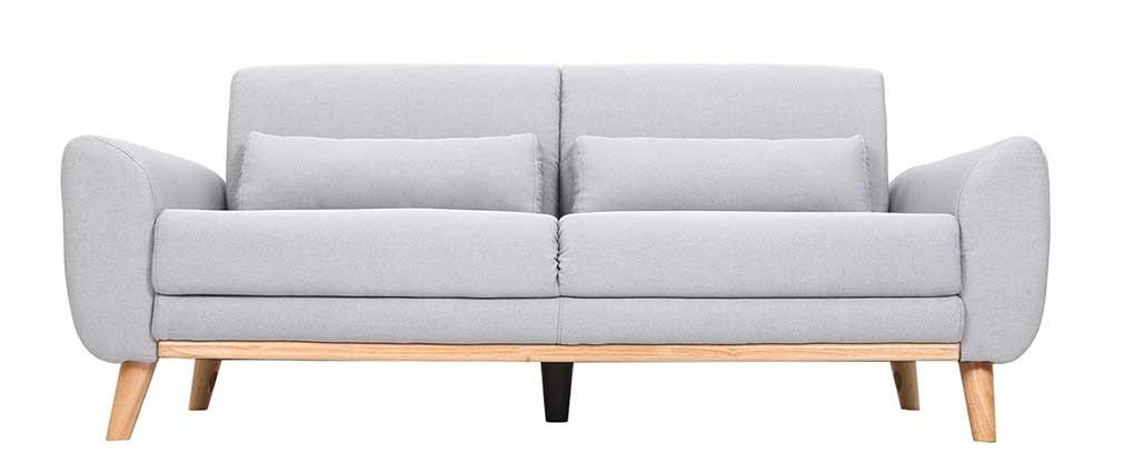 Design-Sofa 3 Plätze Stoff Hellgrau Eichenbeine EKTOR