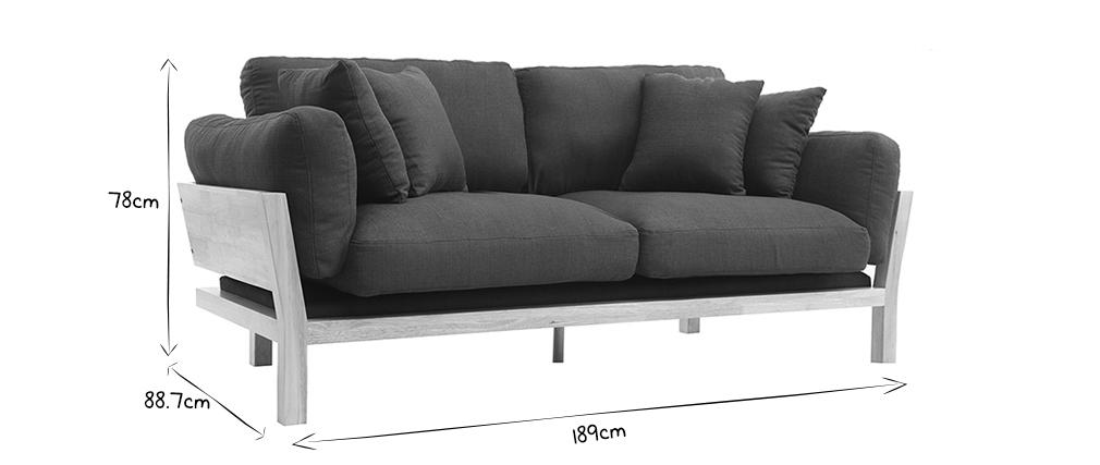 Design-Sofa 3-Sitzer abziehbarer, anthrazitgrauer Stoff YNOK