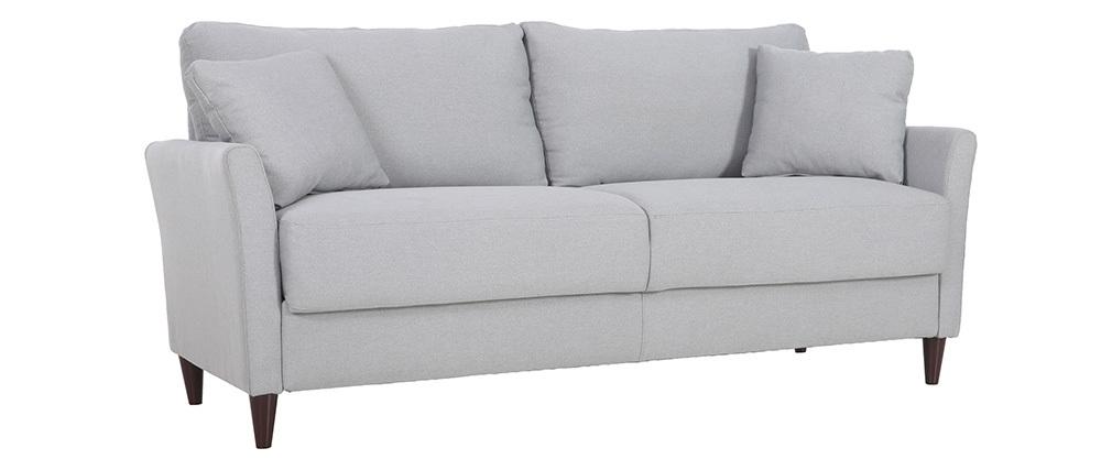 Design-Sofa 3-Sitzer aus hellgrauem Stoff mit Stauraum MEDLEY