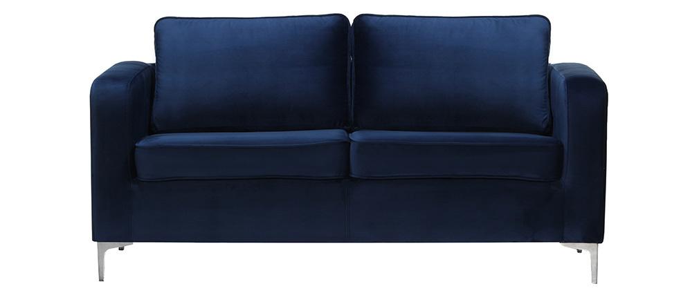 Design-Sofa 3-Sitzer Velours Dunkelblau HARRY