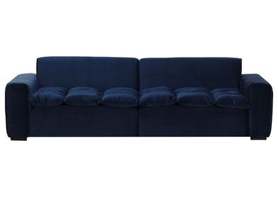 Design-Sofa 3-Sitzer Velours Dunkelblau MELLOW