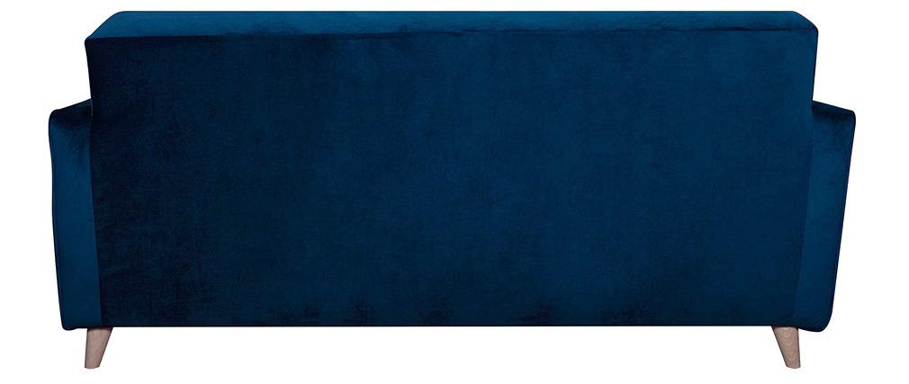 Design-Sofa 3 Sitzplätze nachtblaues Velours CIGALE