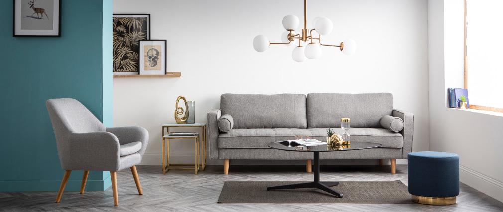 Design-Sofa - 3?4 Plätze - Velours Nachtblau - IMPERIAL