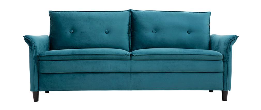 Design-Sofa aus Samt Petrolblau 3 Plätze CLIFF ? Miliboo |1| Stéphane Plaza