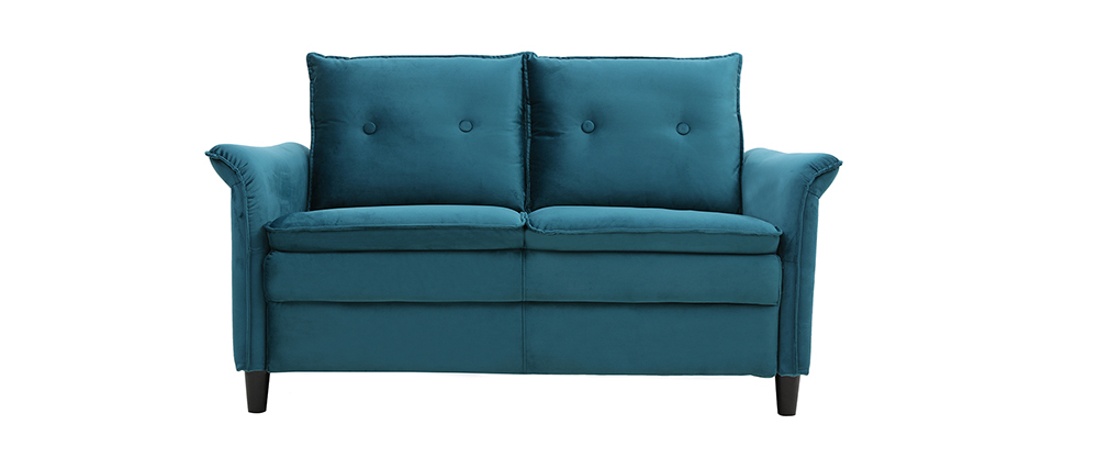 Design-Sofa aus Velours Petrolblau 2 Plätze CLIFF ? Miliboo  1  Stéphane Plaza