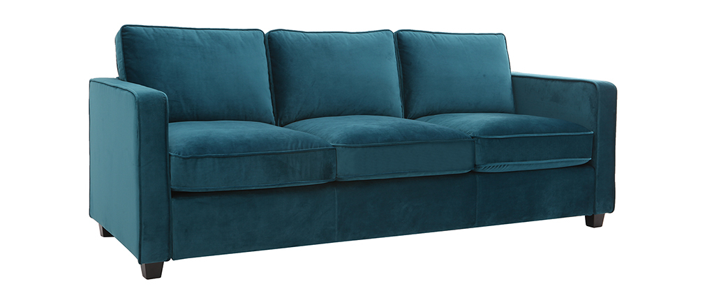 Design-Sofa Samt Smaragdgrün 3-Sitzer BROOKLYN