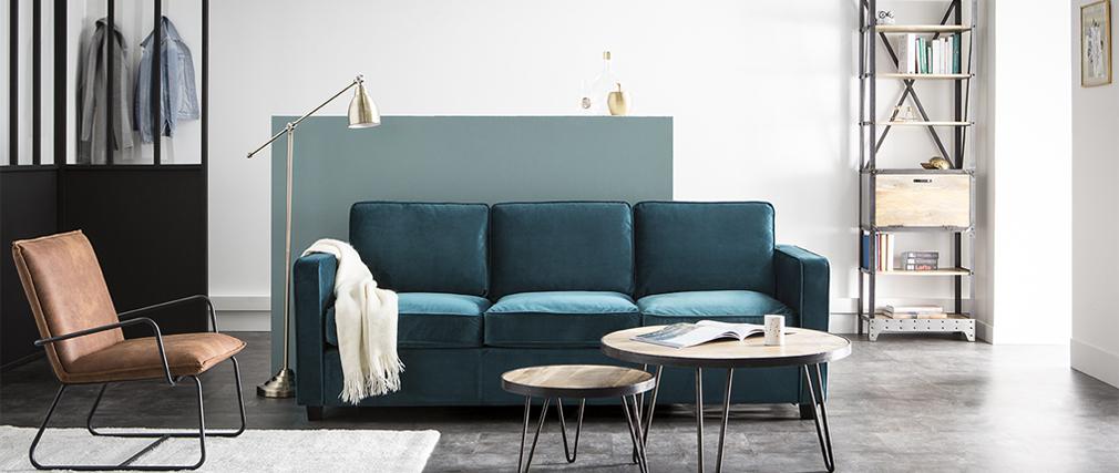 Design-Sofa Velours Smaragdgrün 3-Sitzer BROOKLYN
