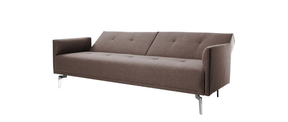 Design sofa verstellbar 3 pl tze hellbraun elin miliboo for Sofa verstellbar