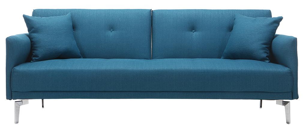 Design-Sofa verstellbar 3 Plätze Petrolblau ELIN