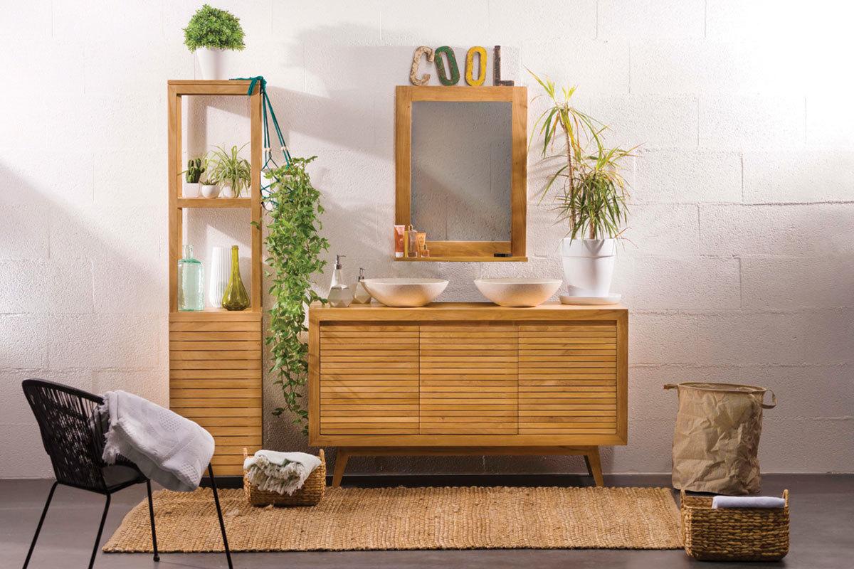 Design-Spiegel Badezimmer Teakholz ANO
