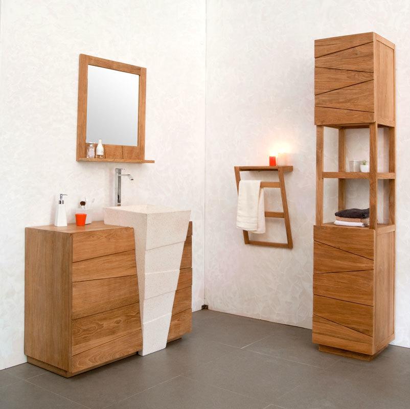 Design-Spiegel Badezimmer Teakholz ARU - Miliboo | {Badezimmermöbel teakholz 53}