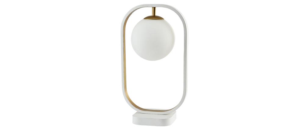 Design-Stehlampe Glas und Metall goldfarben AVOLO