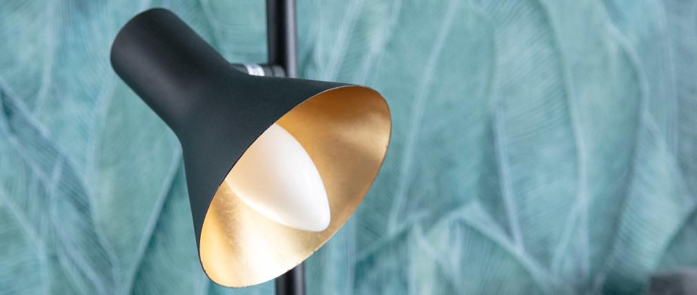 Design-Stehleuchte aus Metall schwarz matt und innen vergoldet DUO