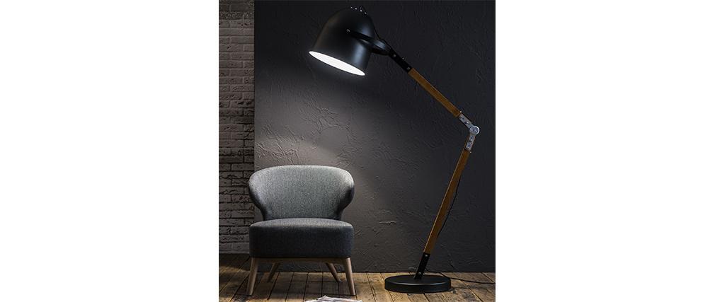 Design-Stehleuchte aus Metall Schwarz und Holz GABY
